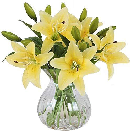 MEIWO Künstliche Blumen, 5 Stück Real Touch Latex Künstliche Lilien Blumen in Vasen Hochzeit Sträuße/Home Dekor/Party / Graves Arrangement(Gelb)