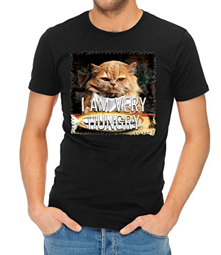 three-monkeys-cat-i-am-very-hungry-animals-collection-mens-ben-crew-neck-classic-tshirt-negro-small