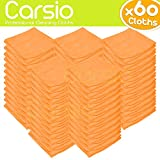 Carsio (x60 Pack, Orange) all-Purpose Washable Microfiber Cleaning Cloths Made For: Cars, General Cleaning, Polishing, Waxing, Dusting, Domestic Appliances, Industrial use and more