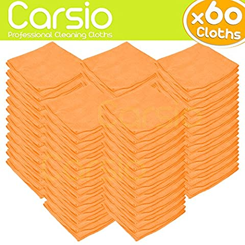 Carsio (x60 Pack, Orange) all-Purpose Washable Microfiber Cleaning Cloths Made For: Cars, General Cleaning, Polishing, Waxing, Dusting, Domestic Appliances, Industrial use and