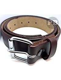 MEN'S 100% GENUINE LEATHER BELT WITH Single Hole In Brown 30'' to 64''