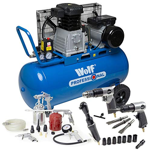 Wolf Dakota 90 Litre, 3HP, 14CFM, 240v, MWP 150psi, 10BAR Twin Cylinder Pump Belt Driven Air Compressor with 3 Piece Tool Kit & 13 Piece Spray Kit