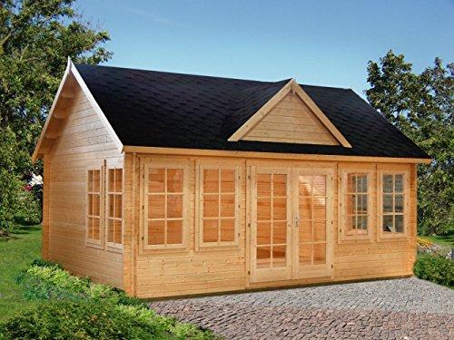 Gartenhaus Fagus F21 inkl. Fußboden, naturbelassen - 44 mm Blockbohlenhaus, Grundfläche: 19,40 m², Satteldach