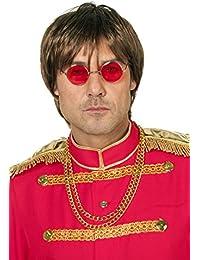Brille Hippie, runde, rote Gläser, Metall