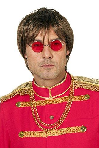 Hippie-Brille John Lennon kleine runde Gläser Flower Power Woodstock 70s Einheitsgröße Rot