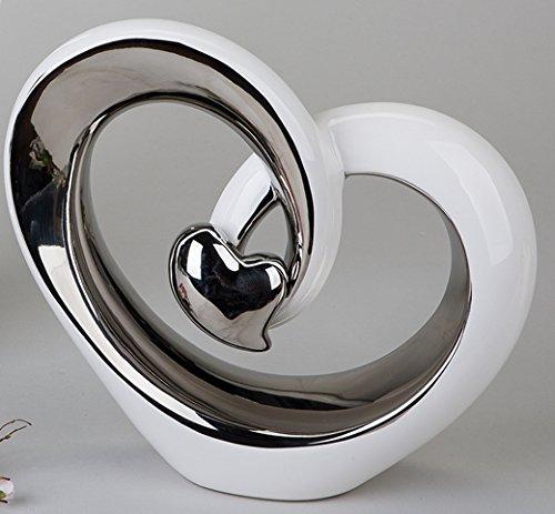 2 Stück moderne Deko Skulpturen 16 x 16 cm Modernes Design Keramik Deko