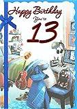 Cards Galore Online Alter 13Boy Geburtstag Karte–Helle Schlafzimmer, Computer, Schuhe & Gitarre 19,1x 13,3cm
