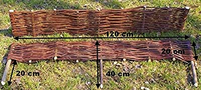 Palisade Weide Weidenzaun Beetumrandung Beeteinfassung Imprägniert 10 Stück 120 x 20cm von Hand Made bei Du und dein Garten