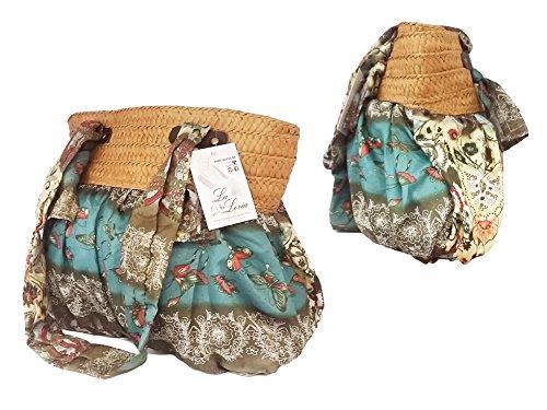 """La Loria bunte Handtasche """"Great HIPPIE"""" stylische Schultertasche, Beuteltasche für Damen oder Mädchen - Boho Style - Bohemian Style Grün-Olivgrün"""
