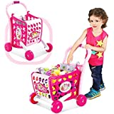 Hobnot 3 in 1 (29 peices) Kids Supermarket Shopping Cart Hand Induction with Light & Sound