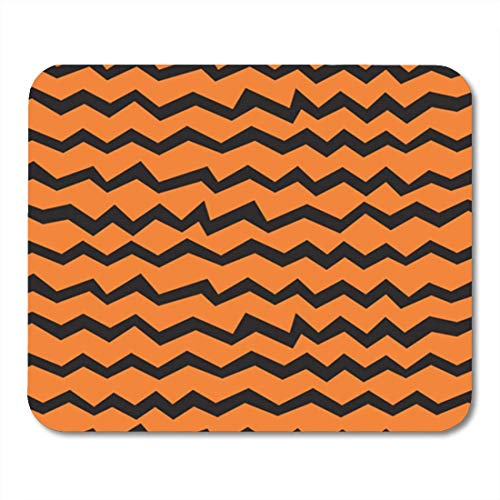 ads, Gaming Mouse Pad Halloween Chevron Pattern Black and Orange Zigzag Lines Polygraphy 11.8