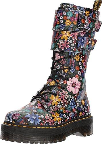 Dr.Martens Womens Jagger Wanderlust Black Mallow Pink Leather Boots 38 EU (Floral Combat Boots Dr Martens)