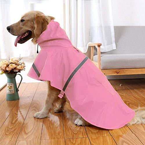 NACOCO Regenmantel für Hunde, verstellbar, wasserdicht, leicht, mit Streifen, reflektierend, L, Rose -