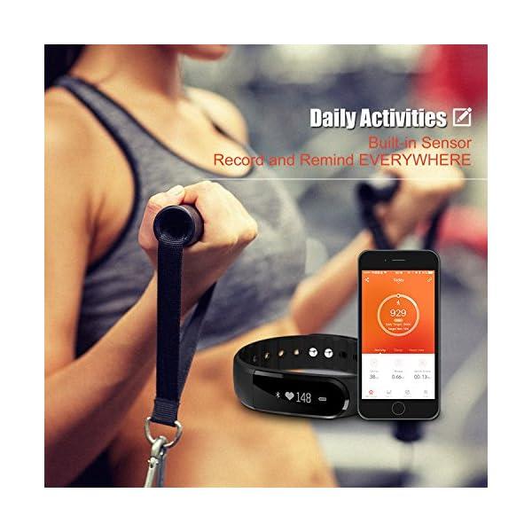 Fitness Tracker, Ritmo cardíaco inteligente actividad pulsera HR podómetro calorías deslizar pantalla táctil de… 5