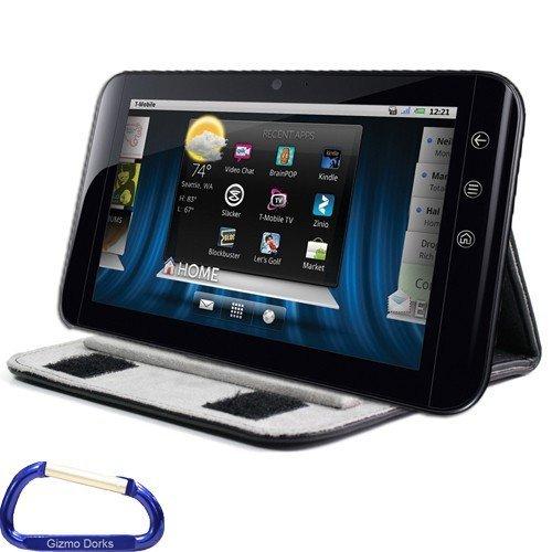 Gizmo Dorks Faltbarer Ständer (Schwarz) Schutzhülle aus Kunstleder mit Karabinerhaken für Dell Streak 7 Android Tablet