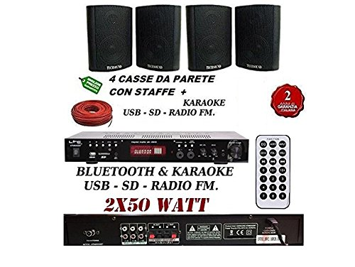 KIT AUDIO:AMPLIFICATORE USB+BLUETOOTH+RADIO FM+4 CASSE DA PARETE NERE + CAVO