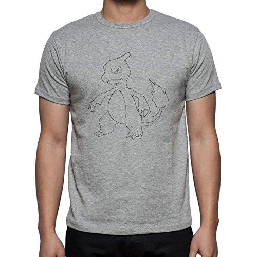 Pokemon Charmeleon Fire Dragon No Color White Black Herren T-Shirt Grau