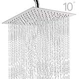 Topmail 10 Pollici Soffione Doccia a Pioggia Anticalcare ad Alta Pressione in 304 Acciaio Inox Testa di Doccia Lucido Ultra Sottile Quadrato 25 Centimetri Argento