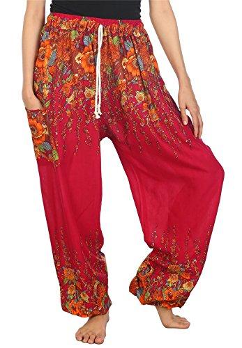 Lofbaz Pantaloni Coulisse da Donna Harem boemo bohemien Casual Aladdin Floral 1 Borgogna