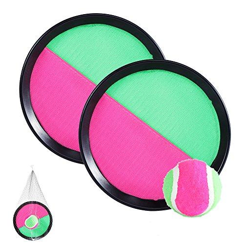 Toss und Catch Spiel Set, Sport Handheld Stick Disc Paddle Griff Ball Überwurf Tennis Spielzeug mit Mesh Tasche für Erwachsene Kinder -