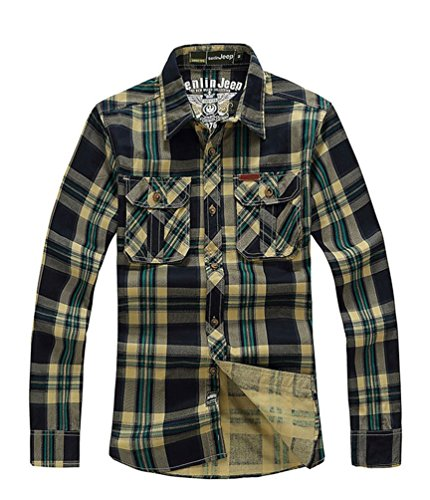 baishun-herren-business-hemd-grun-grun-small-beige-army-green-plaid-s