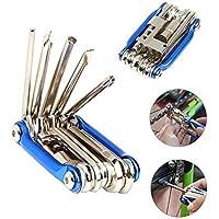 FULARR 11-en-1 Outil Multifonctionnel de Réparation de Bicyclette, Mini Outil Pliable Portatif de Réparation, Outil en Acier Inoxydable de Réparation de Vélo et Ensemble de Kit de Maintenance