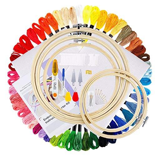 MICHAELA BLAKE Stickerei Starter Kit 50 Son Diskussion 5 Farbe Bambus Hoops Stickerei Crosspoint Needlepoint Kit Stickerei Craft Nähen Innendekoration 1Set -