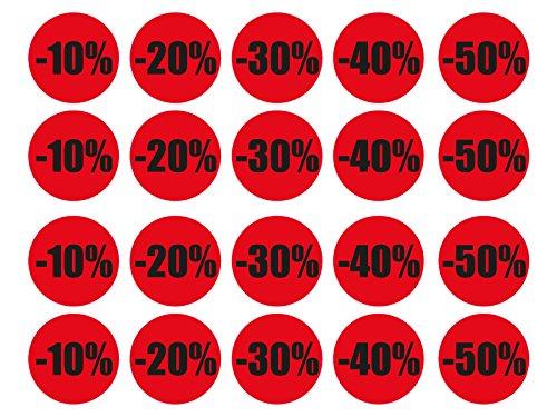 1 x Aufkleber 20 Rabatt Sticker -10-20 -30-40 -50% Aktion Werbung Geschäft NEU