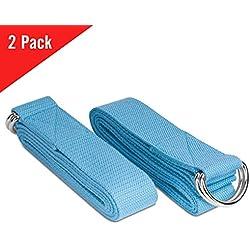 MoKo Yoga Correa - [2 Pzs] Durable Algodón Suave de Estiramiento Fitness Ejercicio Físico Band con D-Ring Metal & Strap Belt 6ft para Mejora de la Flexibilidad, Terapia Física, Pilates y Postura, Azul Claro