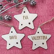 Adorno navidad estrella árbol bola de madera personalizadas con cordel para colgar, Ornamento Decoraciones col