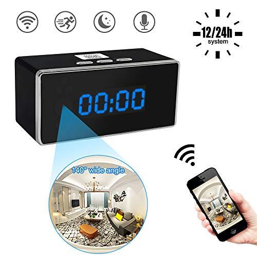 Spy Clock Camera, UYIKOO 1080P Wifi Telecamera Nascosta Videocamera 140° con Rilevatore di movimento Visore notturno per Telecamera di Sorveglianza Domestica Supporto Remoto Vista