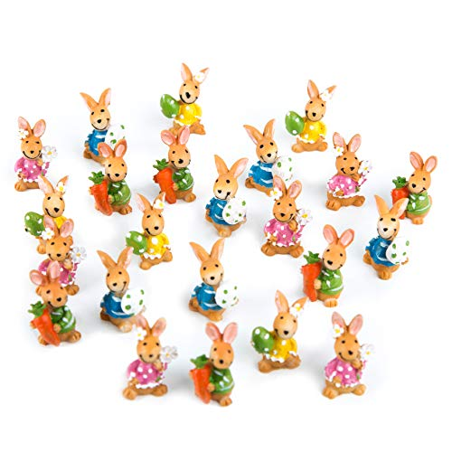 Logbuch-Verlag 22 Mini Coniglietti pasquali Colorati, da appoggiare, 3 cm, Idea Regalo per Pasqua