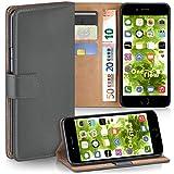moex Apple iPhone 7/8 | Hülle Dunkel-Grau mit Karten-Fach 360° Book Klapp-Hülle Handytasche Kunst-Leder Handyhülle für iPhone 7/8 Case Flip Cover Schutzhülle Tasche