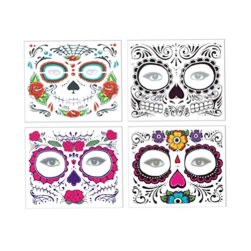 Lurrose 4 STÜCKE Halloween Gesichts Tattoo Aufkleber Dauerhafte Wasserdichte Tag Der Toten Zuckerschädel Rosen Temporäre Tattoos Halloween Erwachsene Kinder Make-Up Kit (Rosen Der Tag Toten)