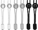 Variosports Schnellschnürsystem 3xPack elastische Schnürsenkel mit Schnellverschluss - Lock Shoe Laces - schleifenlose Schuhbänder - (schwarz-weiß-grau)