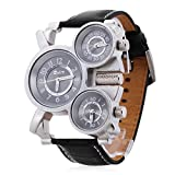 Herren Analog Quarz-Armbanduhr mit Leder armband (3 Zeitzonen, schwarz)
