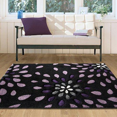 Contemporary High Quality Purple Petal Splash Rug - 180 cm x 270 cm (5'11