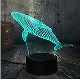 Día del niño Regalo 3D Ballena visual Animal visual Luz submarina Mundo Noche de peces Luz de mesa multicolor Lámpara de escritorio Regalos para niños