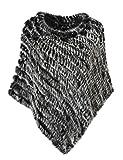 Ferand Echter Kaninchen Pelzponcho Wärmender Pelzumhang für Frauen,Black&Grau