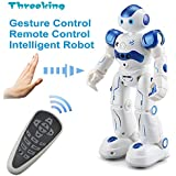 Smart Robot Toys Threeking Gesture Control & Remote Control Robot Gift For Boys Girls Kid's Companion:Game Fun Learning Music Dance Etc.Rechargeable Rc Robot Kit - Blue