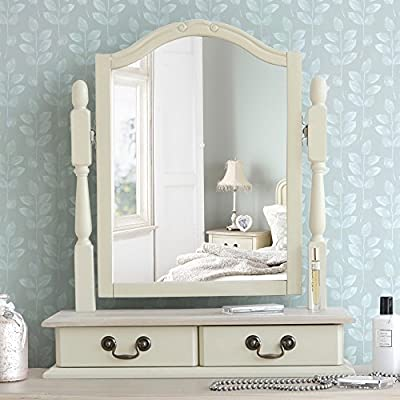 Juliette Shabby Chic Champagne Trinket Mirror, Cream dressing table mirror with 2 drawers, adjustable angle mirror - cheap UK dressing table store.