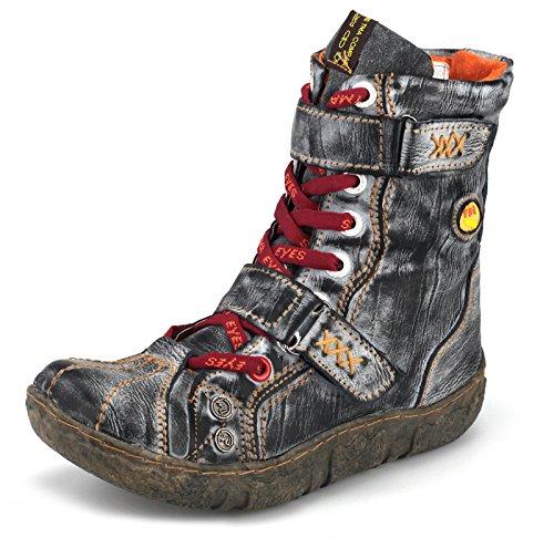 TMA Damen Winter Stiefeletten Boots Gefüttert Schuhe 7087 Schwarz-Grau