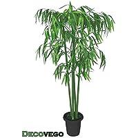 Bambù Pianta Albero Artificiale Plastica con Legno Naturale 140cm Decovego