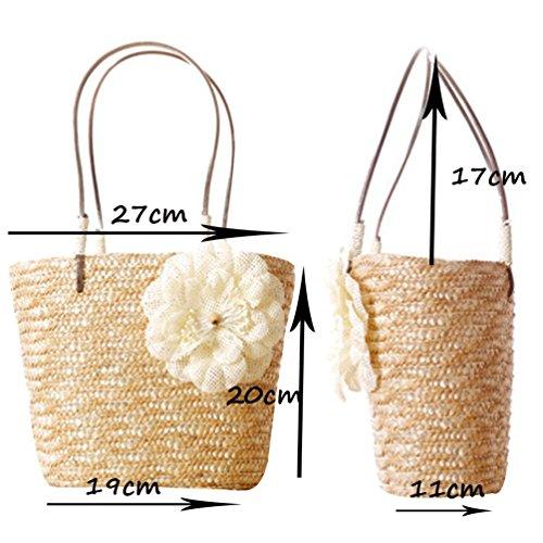 YOUJIA Damen Gewebt Handtasche Strand Tragetaschen Einkaufstasche Aus Form-Eimer #1 Yellow