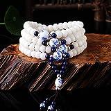 ZH Original Bodhi Root Handmade Retro Persönlichkeit kreative Schmuck Rosenkranz blau und weiß Porzellan Zubehör Armband Ideen,6 * 8,Einheitsgröße