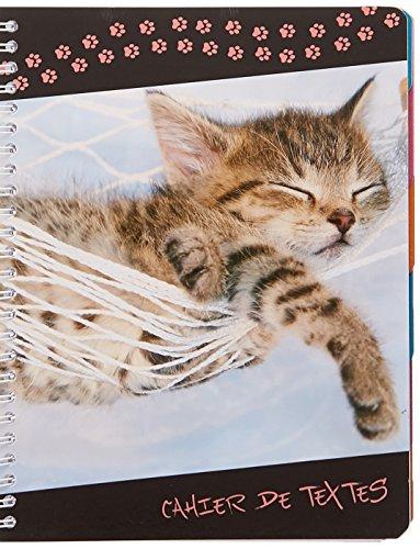 Exacompta 999145E Funny Pets Cahier de Textes spirales Onglets hebdomadaires détachables 22 x 17 cm Chat Hamac