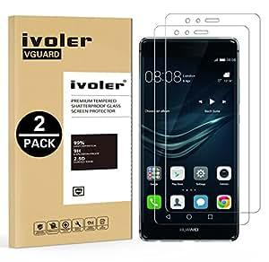 [2-Pack] Huawei P9 Plus Pellicola Protettiva, iVoler® Pellicola Protettiva in Vetro Temperato per Huawei P9 Plus - Vetro con Durezza 9H, Spessore di 0,2 mm,Bordi Arrotondati da 2,5D-Shockproof, Trasparenza ad alta definizione, Facile da installare- Garanzia a vita