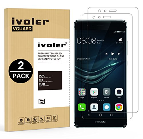 iVoler [2 Unidades] Protector de Pantalla para Huawei P9 Plus, Cristal Vidrio Templado Premium [9H Dureza] [Ultra Fina 0,3mm] [2.5D Round Edge]
