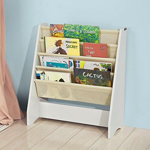 SoBuy FRG225-W Kinder-Bücherregal Hängefächerregal Büchergestell Zeitungsständer mit 4...