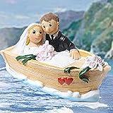Brautpaar im Boot sitzend als Spardose zum dekorieren für die Hochzeitstorte, Länge 13cm